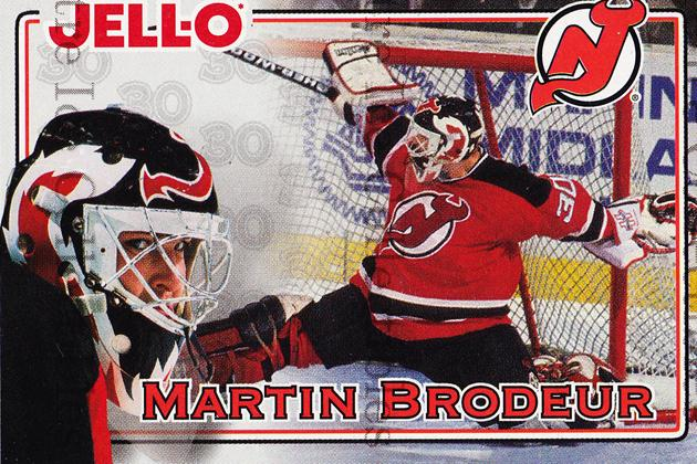 1995-96 Kraft Jell-O #4 Martin Brodeur<br/>1 In Stock - $5.00 each - <a href=https://centericecollectibles.foxycart.com/cart?name=1995-96%20Kraft%20Jell-O%20%234%20Martin%20Brodeur...&quantity_max=1&price=$5.00&code=271347 class=foxycart> Buy it now! </a>