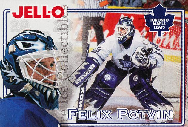 1995-96 Kraft Jell-O #19 Felix Potvin<br/>1 In Stock - $3.00 each - <a href=https://centericecollectibles.foxycart.com/cart?name=1995-96%20Kraft%20Jell-O%20%2319%20Felix%20Potvin...&quantity_max=1&price=$3.00&code=271351 class=foxycart> Buy it now! </a>