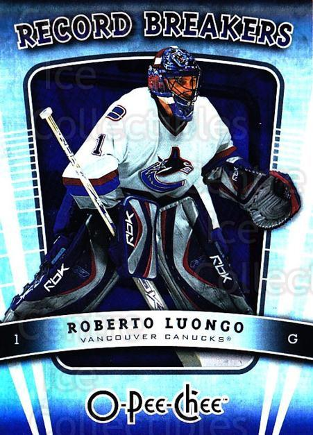 2007-08 O-Pee-Chee Record Breakers #10 Roberto Luongo<br/>2 In Stock - $2.00 each - <a href=https://centericecollectibles.foxycart.com/cart?name=2007-08%20O-Pee-Chee%20Record%20Breakers%20%2310%20Roberto%20Luongo...&quantity_max=2&price=$2.00&code=271370 class=foxycart> Buy it now! </a>