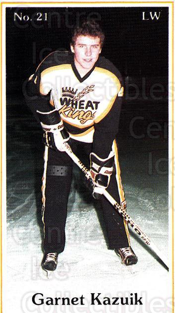 1984-85 Brandon Wheat Kings #1 Garnet Kazuik<br/>6 In Stock - $3.00 each - <a href=https://centericecollectibles.foxycart.com/cart?name=1984-85%20Brandon%20Wheat%20Kings%20%231%20Garnet%20Kazuik...&quantity_max=6&price=$3.00&code=27145 class=foxycart> Buy it now! </a>