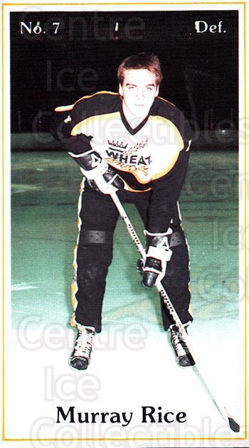 1984-85 Brandon Wheat Kings #10 Murray Rice<br/>6 In Stock - $3.00 each - <a href=https://centericecollectibles.foxycart.com/cart?name=1984-85%20Brandon%20Wheat%20Kings%20%2310%20Murray%20Rice...&quantity_max=6&price=$3.00&code=27146 class=foxycart> Buy it now! </a>