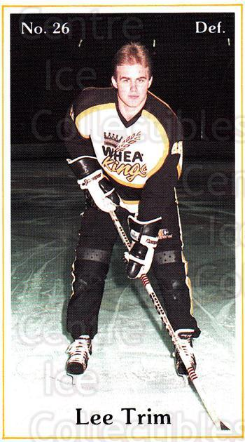 1984-85 Brandon Wheat Kings #13 Lee Trim<br/>6 In Stock - $3.00 each - <a href=https://centericecollectibles.foxycart.com/cart?name=1984-85%20Brandon%20Wheat%20Kings%20%2313%20Lee%20Trim...&quantity_max=6&price=$3.00&code=27149 class=foxycart> Buy it now! </a>