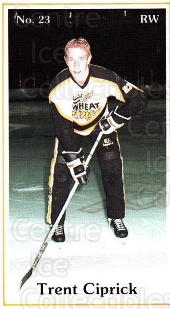 1984-85 Brandon Wheat Kings #15 Trent Ciprick<br/>5 In Stock - $3.00 each - <a href=https://centericecollectibles.foxycart.com/cart?name=1984-85%20Brandon%20Wheat%20Kings%20%2315%20Trent%20Ciprick...&quantity_max=5&price=$3.00&code=27151 class=foxycart> Buy it now! </a>