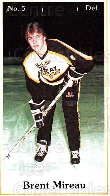 1984-85 Brandon Wheat Kings #2 Brent Mireau<br/>6 In Stock - $3.00 each - <a href=https://centericecollectibles.foxycart.com/cart?name=1984-85%20Brandon%20Wheat%20Kings%20%232%20Brent%20Mireau...&quantity_max=6&price=$3.00&code=27156 class=foxycart> Buy it now! </a>