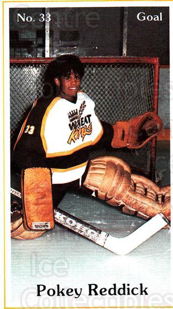 1984-85 Brandon Wheat Kings #20 Eldon Reddick<br/>3 In Stock - $3.00 each - <a href=https://centericecollectibles.foxycart.com/cart?name=1984-85%20Brandon%20Wheat%20Kings%20%2320%20Eldon%20Reddick...&quantity_max=3&price=$3.00&code=27157 class=foxycart> Buy it now! </a>