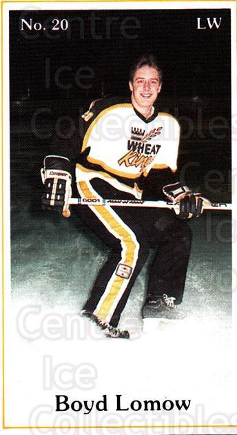 1984-85 Brandon Wheat Kings #21 Boyd Lomow<br/>6 In Stock - $3.00 each - <a href=https://centericecollectibles.foxycart.com/cart?name=1984-85%20Brandon%20Wheat%20Kings%20%2321%20Boyd%20Lomow...&quantity_max=6&price=$3.00&code=27158 class=foxycart> Buy it now! </a>
