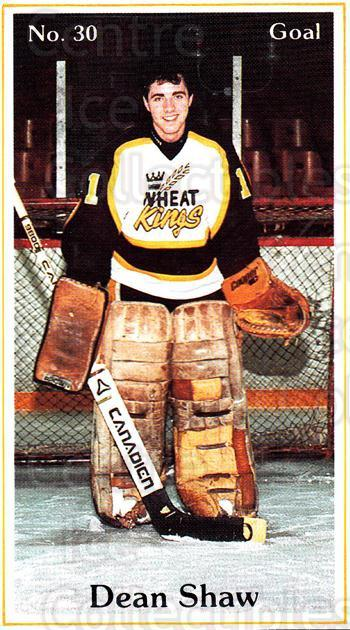 1984-85 Brandon Wheat Kings #4 Dean Shaw<br/>5 In Stock - $3.00 each - <a href=https://centericecollectibles.foxycart.com/cart?name=1984-85%20Brandon%20Wheat%20Kings%20%234%20Dean%20Shaw...&quantity_max=5&price=$3.00&code=27162 class=foxycart> Buy it now! </a>