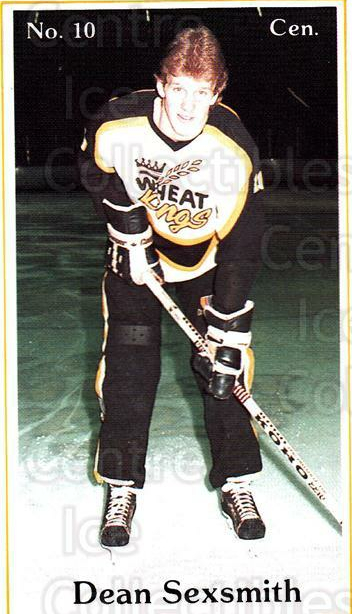 1984-85 Brandon Wheat Kings #5 Dean Sexsmith<br/>1 In Stock - $3.00 each - <a href=https://centericecollectibles.foxycart.com/cart?name=1984-85%20Brandon%20Wheat%20Kings%20%235%20Dean%20Sexsmith...&quantity_max=1&price=$3.00&code=27163 class=foxycart> Buy it now! </a>