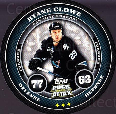 2009-10 Topps Puck Attax #157 Ryane Clowe<br/>2 In Stock - $2.00 each - <a href=https://centericecollectibles.foxycart.com/cart?name=2009-10%20Topps%20Puck%20Attax%20%23157%20Ryane%20Clowe...&quantity_max=2&price=$2.00&code=271815 class=foxycart> Buy it now! </a>