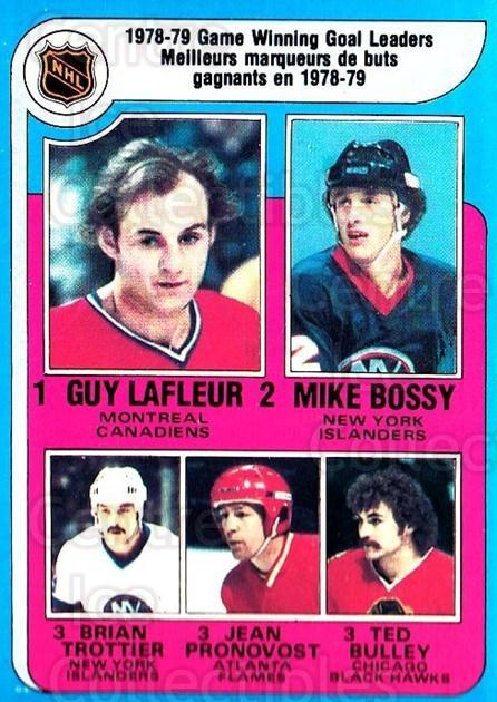 1979-80 O-pee-chee #7 Guy Lafleur, Mike Bossy, Bryan Trottier, Jean Pronovost, Ted Bulley<br/>1 In Stock - $5.00 each - <a href=https://centericecollectibles.foxycart.com/cart?name=1979-80%20O-pee-chee%20%237%20Guy%20Lafleur,%20Mi...&quantity_max=1&price=$5.00&code=271973 class=foxycart> Buy it now! </a>