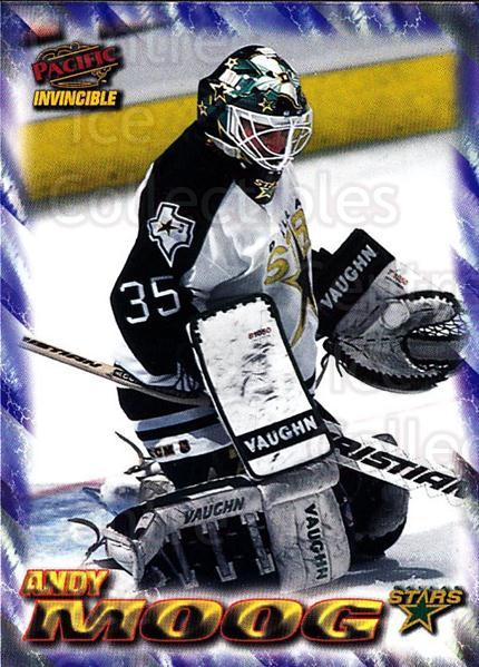 1997-98 Pacific Invincible NHL Regime #64 Andy Moog<br/>3 In Stock - $1.00 each - <a href=https://centericecollectibles.foxycart.com/cart?name=1997-98%20Pacific%20Invincible%20NHL%20Regime%20%2364%20Andy%20Moog...&quantity_max=3&price=$1.00&code=273000 class=foxycart> Buy it now! </a>