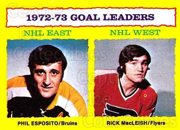 1973-74 Topps #1 Phil Esposito, Rick MacLeish<br/>1 In Stock - $5.00 each - <a href=https://centericecollectibles.foxycart.com/cart?name=1973-74%20Topps%20%231%20Phil%20Esposito,%20...&quantity_max=1&price=$5.00&code=273188 class=foxycart> Buy it now! </a>