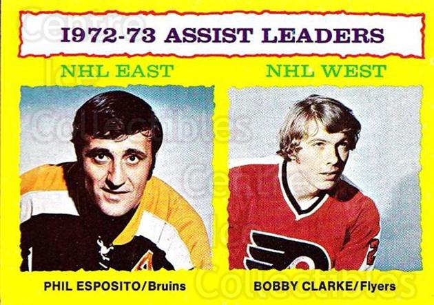 1973-74 Topps #2 Phil Esposito, Bobby Clarke<br/>2 In Stock - $5.00 each - <a href=https://centericecollectibles.foxycart.com/cart?name=1973-74%20Topps%20%232%20Phil%20Esposito,%20...&quantity_max=2&price=$5.00&code=273189 class=foxycart> Buy it now! </a>