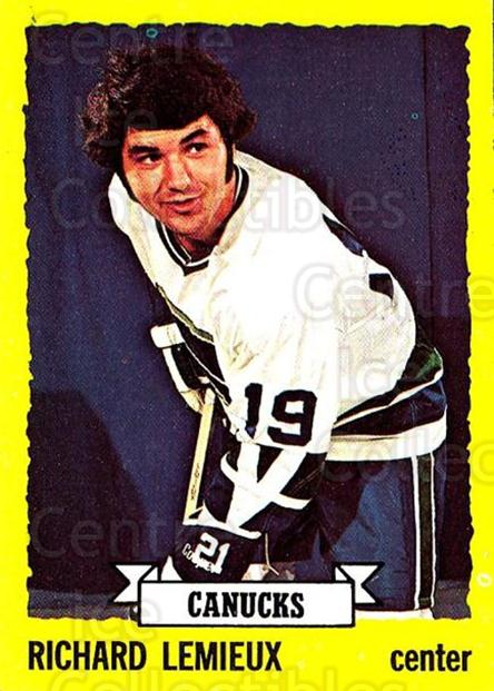 1973-74 Topps #53 Richard Lemieux<br/>2 In Stock - $3.00 each - <a href=https://centericecollectibles.foxycart.com/cart?name=1973-74%20Topps%20%2353%20Richard%20Lemieux...&quantity_max=2&price=$3.00&code=273240 class=foxycart> Buy it now! </a>