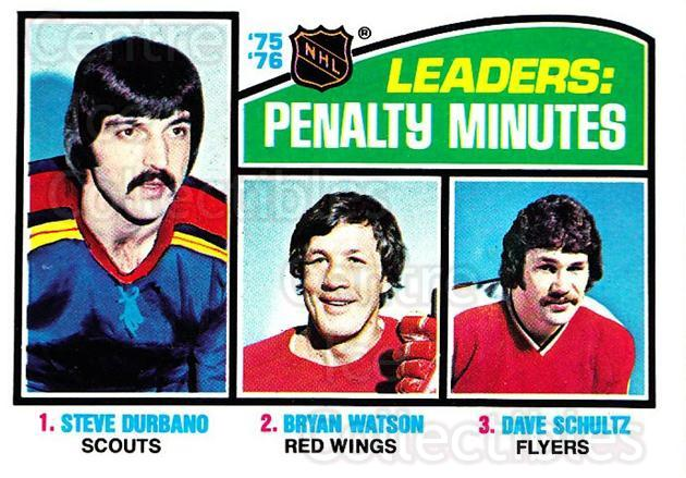 1976-77 Topps #4 Steve Durbano, Bryan Watson, Dave Schultz<br/>2 In Stock - $2.00 each - <a href=https://centericecollectibles.foxycart.com/cart?name=1976-77%20Topps%20%234%20Steve%20Durbano,%20...&quantity_max=2&price=$2.00&code=273414 class=foxycart> Buy it now! </a>