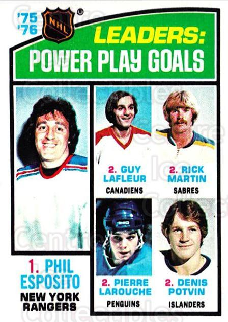 1976-77 Topps #5 Phil Esposito, Guy Lafleur, Rick Martin, Pierre Larouche, Denis Potvin<br/>2 In Stock - $3.00 each - <a href=https://centericecollectibles.foxycart.com/cart?name=1976-77%20Topps%20%235%20Phil%20Esposito,%20...&price=$3.00&code=273415 class=foxycart> Buy it now! </a>