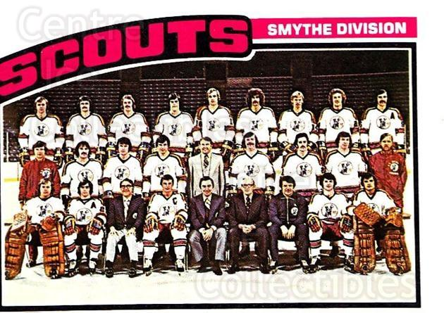 1976-77 Topps #138 Kansas City Scouts, Checklist<br/>4 In Stock - $3.00 each - <a href=https://centericecollectibles.foxycart.com/cart?name=1976-77%20Topps%20%23138%20Kansas%20City%20Sco...&quantity_max=4&price=$3.00&code=273548 class=foxycart> Buy it now! </a>