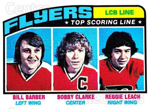 1976-77 Topps #215 Bill Barber, Bobby Clark, Reggie Leach<br/>1 In Stock - $3.00 each - <a href=https://centericecollectibles.foxycart.com/cart?name=1976-77%20Topps%20%23215%20Bill%20Barber,%20Bo...&quantity_max=1&price=$3.00&code=273625 class=foxycart> Buy it now! </a>