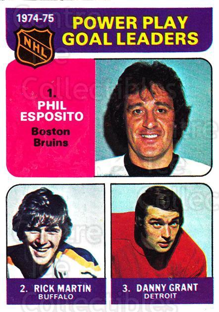 1975-76 Topps #212 Phil Esposito, Rick Martin, Danny Grant<br/>1 In Stock - $2.00 each - <a href=https://centericecollectibles.foxycart.com/cart?name=1975-76%20Topps%20%23212%20Phil%20Esposito,%20...&quantity_max=1&price=$2.00&code=273886 class=foxycart> Buy it now! </a>