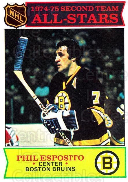 1975-76 Topps #292 Phil Esposito<br/>2 In Stock - $3.00 each - <a href=https://centericecollectibles.foxycart.com/cart?name=1975-76%20Topps%20%23292%20Phil%20Esposito...&quantity_max=2&price=$3.00&code=273966 class=foxycart> Buy it now! </a>