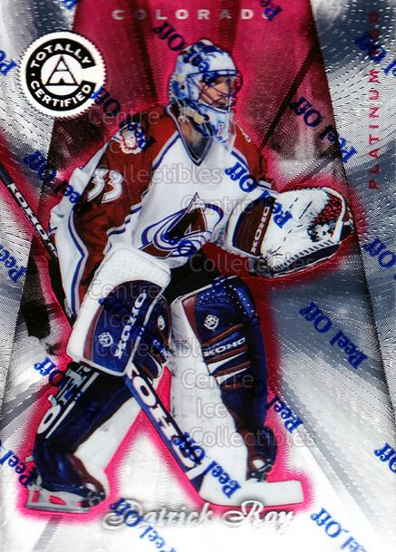 1997-98 Pinnacle Totally Certified Platinum Red #2 Patrick Roy<br/>1 In Stock - $10.00 each - <a href=https://centericecollectibles.foxycart.com/cart?name=1997-98%20Pinnacle%20Totally%20Certified%20Platinum%20Red%20%232%20Patrick%20Roy...&quantity_max=1&price=$10.00&code=274132 class=foxycart> Buy it now! </a>