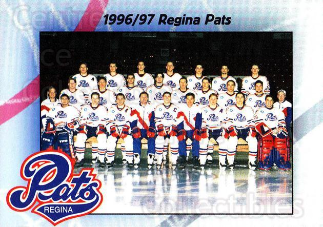 1996-97 Regina Pats #25 Regina Pats, Team Photo<br/>5 In Stock - $2.00 each - <a href=https://centericecollectibles.foxycart.com/cart?name=1996-97%20Regina%20Pats%20%2325%20Regina%20Pats,%20Te...&price=$2.00&code=274196 class=foxycart> Buy it now! </a>