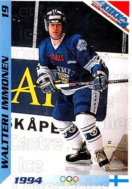 1994 Finnish Jaa Kiekko #19 Waltteri Immonen<br/>1 In Stock - $2.00 each - <a href=https://centericecollectibles.foxycart.com/cart?name=1994%20Finnish%20Jaa%20Kiekko%20%2319%20Waltteri%20Immone...&quantity_max=1&price=$2.00&code=2741 class=foxycart> Buy it now! </a>