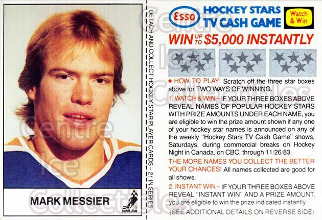1983-84 Esso #13 Mark Messier<br/>2 In Stock - $3.00 each - <a href=https://centericecollectibles.foxycart.com/cart?name=1983-84%20Esso%20%2313%20Mark%20Messier...&quantity_max=2&price=$3.00&code=27474 class=foxycart> Buy it now! </a>