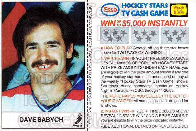 1983-84 Esso #3 Dave Babych<br/>6 In Stock - $3.00 each - <a href=https://centericecollectibles.foxycart.com/cart?name=1983-84%20Esso%20%233%20Dave%20Babych...&quantity_max=6&price=$3.00&code=27483 class=foxycart> Buy it now! </a>