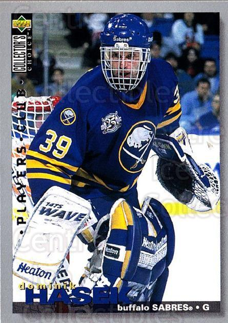 1995-96 Collectors Choice Players Club #258 Dominik Hasek<br/>2 In Stock - $3.00 each - <a href=https://centericecollectibles.foxycart.com/cart?name=1995-96%20Collectors%20Choice%20Players%20Club%20%23258%20Dominik%20Hasek...&quantity_max=2&price=$3.00&code=274868 class=foxycart> Buy it now! </a>