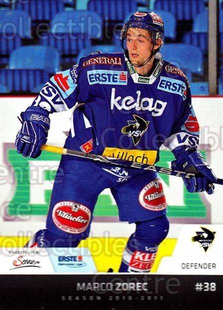 2010-11 Erste Bank Eishockey Liga EBEL #158 Marco Zorec<br/>6 In Stock - $2.00 each - <a href=https://centericecollectibles.foxycart.com/cart?name=2010-11%20Erste%20Bank%20Eishockey%20Liga%20EBEL%20%23158%20Marco%20Zorec...&quantity_max=6&price=$2.00&code=275197 class=foxycart> Buy it now! </a>