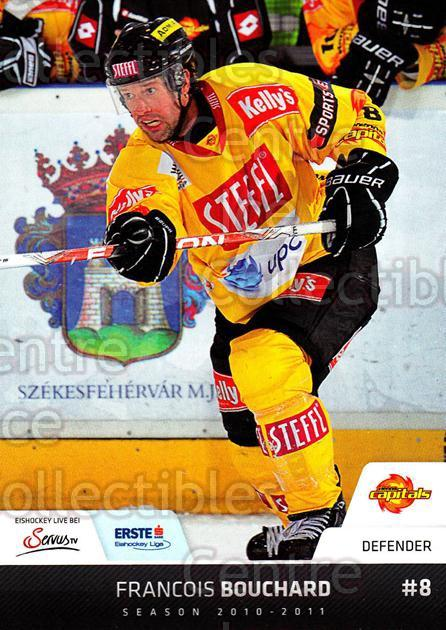 2010-11 Erste Bank Eishockey Liga EBEL #166 Francois Bouchard<br/>1 In Stock - $2.00 each - <a href=https://centericecollectibles.foxycart.com/cart?name=2010-11%20Erste%20Bank%20Eishockey%20Liga%20EBEL%20%23166%20Francois%20Boucha...&quantity_max=1&price=$2.00&code=275205 class=foxycart> Buy it now! </a>