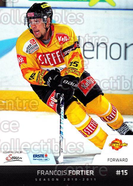 2010-11 Erste Bank Eishockey Liga EBEL #170 Francois Fortier<br/>5 In Stock - $2.00 each - <a href=https://centericecollectibles.foxycart.com/cart?name=2010-11%20Erste%20Bank%20Eishockey%20Liga%20EBEL%20%23170%20Francois%20Fortie...&quantity_max=5&price=$2.00&code=275209 class=foxycart> Buy it now! </a>