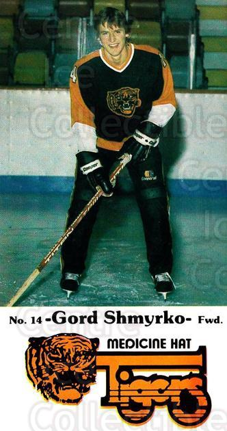 1983-84 Medicine Hat Tigers #22 Gord Shmyrko<br/>3 In Stock - $3.00 each - <a href=https://centericecollectibles.foxycart.com/cart?name=1983-84%20Medicine%20Hat%20Tigers%20%2322%20Gord%20Shmyrko...&quantity_max=3&price=$3.00&code=27558 class=foxycart> Buy it now! </a>