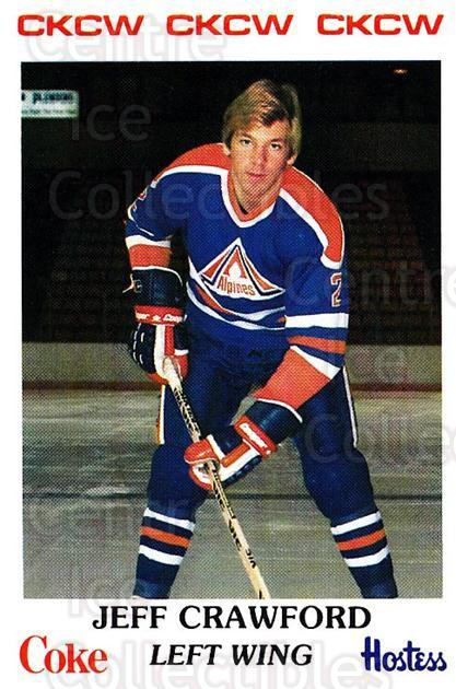 1983-84 Moncton Alpines #18 Jeff Crawford<br/>9 In Stock - $3.00 each - <a href=https://centericecollectibles.foxycart.com/cart?name=1983-84%20Moncton%20Alpines%20%2318%20Jeff%20Crawford...&quantity_max=9&price=$3.00&code=27576 class=foxycart> Buy it now! </a>