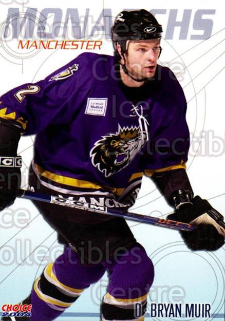 2003-04 Manchester Monarchs Choice #10 Bryan Muir<br/>7 In Stock - $3.00 each - <a href=https://centericecollectibles.foxycart.com/cart?name=2003-04%20Manchester%20Monarchs%20Choice%20%2310%20Bryan%20Muir...&quantity_max=7&price=$3.00&code=275830 class=foxycart> Buy it now! </a>