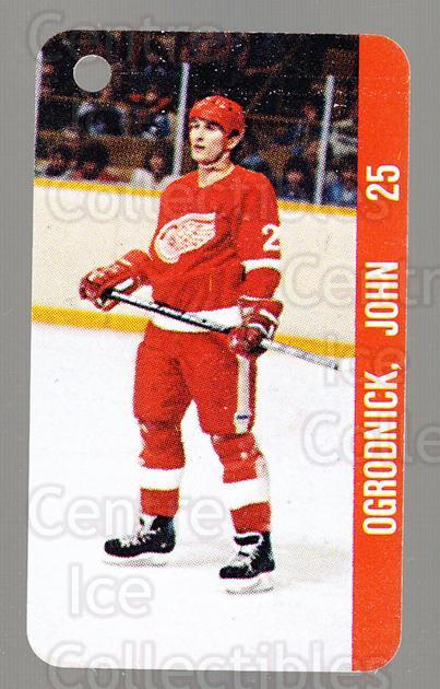 1983-84 NHL Key Tags #34 John Ogrodnick, Reed Larson<br/>13 In Stock - $2.00 each - <a href=https://centericecollectibles.foxycart.com/cart?name=1983-84%20NHL%20Key%20Tags%20%2334%20John%20Ogrodnick,...&quantity_max=13&price=$2.00&code=27657 class=foxycart> Buy it now! </a>