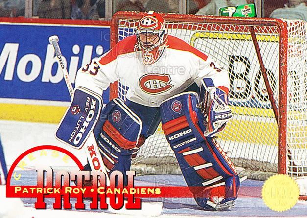 1994-95 Leaf Crease Patrol #1 Patrick Roy<br/>7 In Stock - $3.00 each - <a href=https://centericecollectibles.foxycart.com/cart?name=1994-95%20Leaf%20Crease%20Patrol%20%231%20Patrick%20Roy...&price=$3.00&code=276643 class=foxycart> Buy it now! </a>