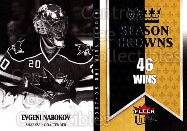 2008-09 Ultra Season Crowns #4 Evgeni Nabokov<br/>3 In Stock - $2.00 each - <a href=https://centericecollectibles.foxycart.com/cart?name=2008-09%20Ultra%20Season%20Crowns%20%234%20Evgeni%20Nabokov...&quantity_max=3&price=$2.00&code=276706 class=foxycart> Buy it now! </a>