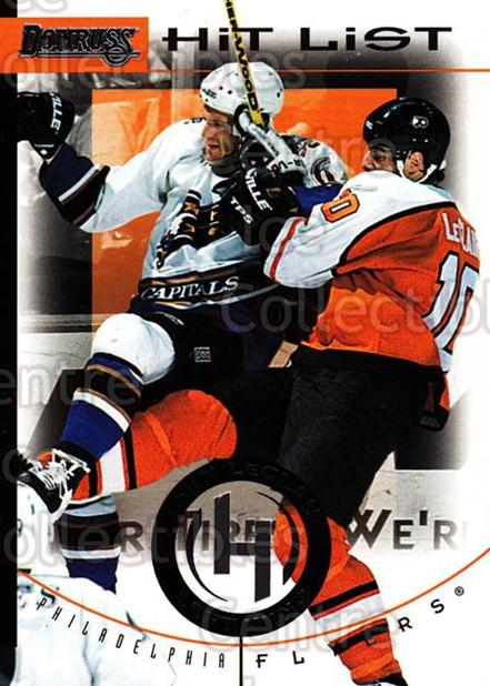 1996-97 Donruss Hit List #13 John LeClair<br/>4 In Stock - $2.00 each - <a href=https://centericecollectibles.foxycart.com/cart?name=1996-97%20Donruss%20Hit%20List%20%2313%20John%20LeClair...&quantity_max=4&price=$2.00&code=276805 class=foxycart> Buy it now! </a>