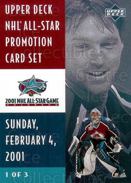 2001 UD Colorado Avalanche AS Redemption #HH1 Patrick Roy, Checklist<br/>1 In Stock - $10.00 each - <a href=https://centericecollectibles.foxycart.com/cart?name=2001%20UD%20Colorado%20Avalanche%20AS%20Redemption%20%23HH1%20Patrick%20Roy,%20Ch...&price=$10.00&code=277360 class=foxycart> Buy it now! </a>