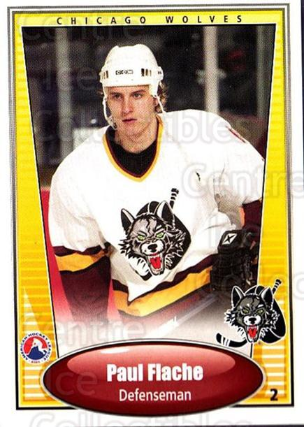 2004-05 Chicago Wolves #6 Paul Flache<br/>2 In Stock - $3.00 each - <a href=https://centericecollectibles.foxycart.com/cart?name=2004-05%20Chicago%20Wolves%20%236%20Paul%20Flache...&quantity_max=2&price=$3.00&code=277379 class=foxycart> Buy it now! </a>