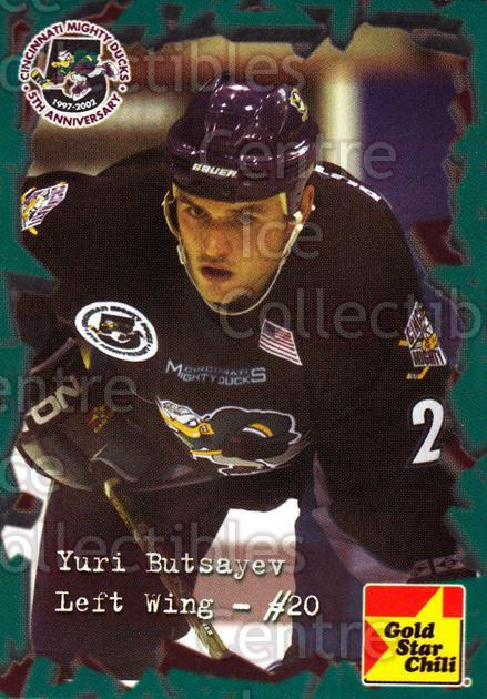 2001-02 Cincinnati Mighty Ducks #3 Yuri Butsayev<br/>1 In Stock - $3.00 each - <a href=https://centericecollectibles.foxycart.com/cart?name=2001-02%20Cincinnati%20Mighty%20Ducks%20%233%20Yuri%20Butsayev...&quantity_max=1&price=$3.00&code=277414 class=foxycart> Buy it now! </a>