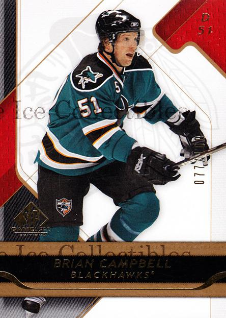 2008-09 Sp Game Used Gold #21 Brian Campbell<br/>1 In Stock - $5.00 each - <a href=https://centericecollectibles.foxycart.com/cart?name=2008-09%20Sp%20Game%20Used%20Gold%20%2321%20Brian%20Campbell...&quantity_max=1&price=$5.00&code=277876 class=foxycart> Buy it now! </a>