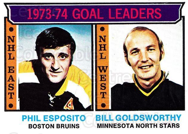1974-75 Topps #1 Phil Esposito, Bill Goldsworthy<br/>2 In Stock - $5.00 each - <a href=https://centericecollectibles.foxycart.com/cart?name=1974-75%20Topps%20%231%20Phil%20Esposito,%20...&quantity_max=2&price=$5.00&code=278020 class=foxycart> Buy it now! </a>