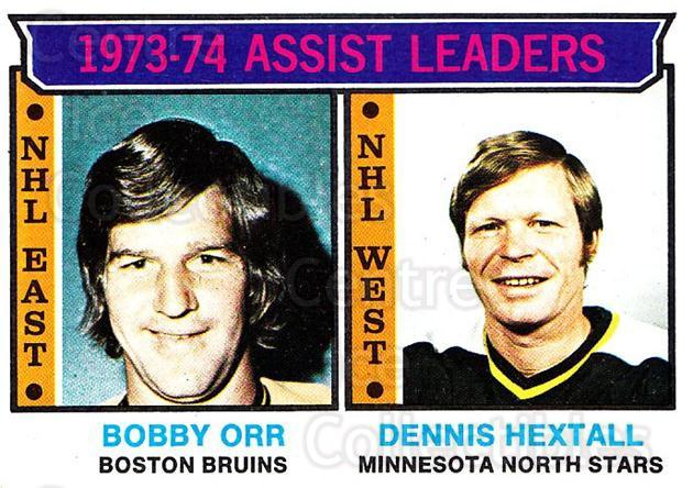 <a href=index.aspx?SetName=1974-75%20Topps>1974-75 Topps</a> #2<a href=index.aspx?PlayerName=Bobby%20Orr> Bobby Orr</a>, <a href=index.aspx?PlayerName=Dennis%20Hextall> Dennis Hextall</a><br/>2 in stock - $10.00 each - <a href=https://centericecollectibles.foxycart.com/cart?name=1974-75%20Topps%20%232%20Bobby%20Orr,%20Denn...&price=$10.00&code=278021 class=foxycart> Buy it now! </a>