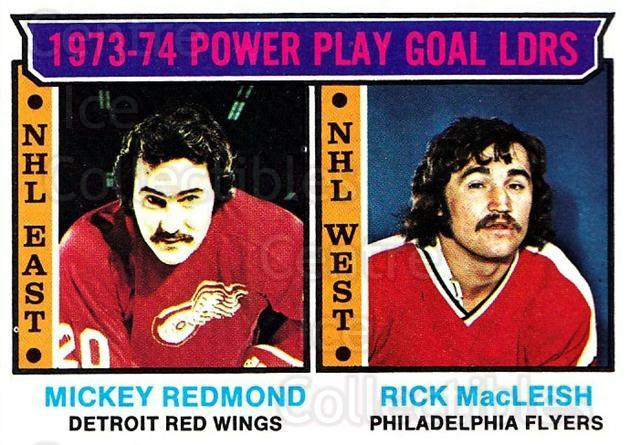 1974-75 Topps #6 Mickey Redmond, Rick MacLeish<br/>2 In Stock - $3.00 each - <a href=https://centericecollectibles.foxycart.com/cart?name=1974-75%20Topps%20%236%20Mickey%20Redmond,...&price=$3.00&code=278025 class=foxycart> Buy it now! </a>