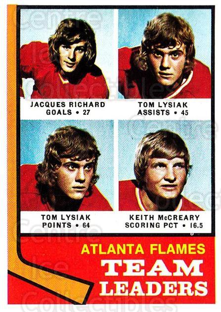1974-75 Topps #14 Jacques Richard, Tom Lysiak, Keith McCreary<br/>2 In Stock - $2.00 each - <a href=https://centericecollectibles.foxycart.com/cart?name=1974-75%20Topps%20%2314%20Jacques%20Richard...&quantity_max=2&price=$2.00&code=278033 class=foxycart> Buy it now! </a>