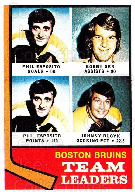 1974-75 Topps #28 Phil Esposito, Bobby Orr, Johnny Bucyk<br/>1 In Stock - $10.00 each - <a href=https://centericecollectibles.foxycart.com/cart?name=1974-75%20Topps%20%2328%20Phil%20Esposito,%20...&price=$10.00&code=278047 class=foxycart> Buy it now! </a>