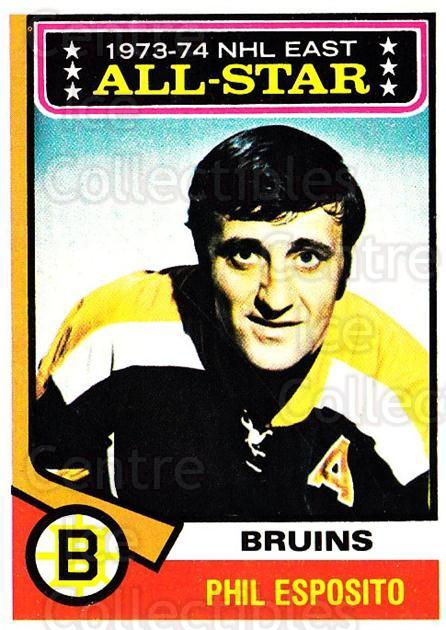 1974-75 Topps #129 Phil Esposito<br/>1 In Stock - $5.00 each - <a href=https://centericecollectibles.foxycart.com/cart?name=1974-75%20Topps%20%23129%20Phil%20Esposito...&quantity_max=1&price=$5.00&code=278148 class=foxycart> Buy it now! </a>